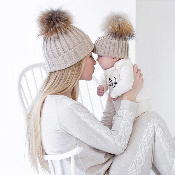 Mom & Baby Matching Knitted Hats, Hats - Rock A Bye Baby Co.