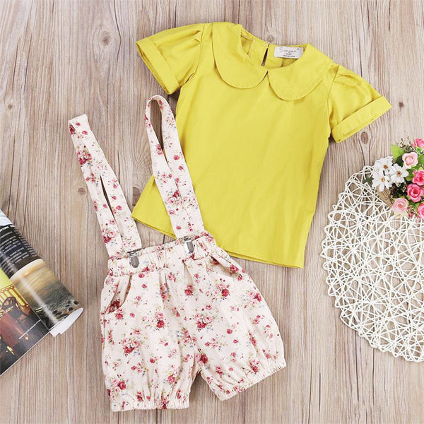 Floral Short Overalls & Mustard Yellow Top | 2-6T