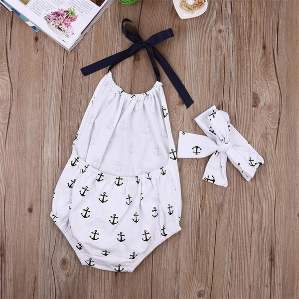 2 PCs Bohemian Anchor Bodysuit | 4-24M, Rompers - Rock A Bye Baby Co.