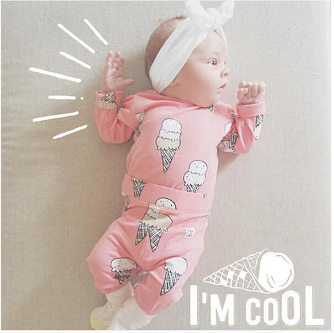 2 PCs Newborn Baby Girl's Ice Cream Long Sleeve Shirt & Pants | 4-24M
