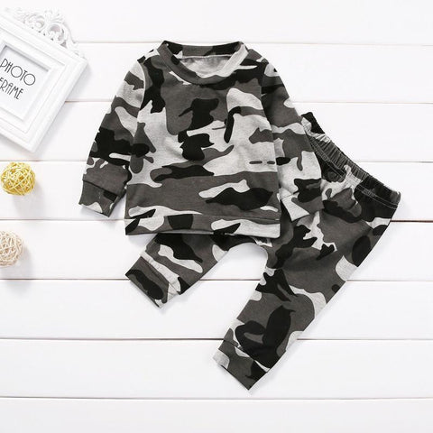 Black & Gray Camouflage Outfit | 3-24M, Outfits - Rock A Bye Baby Co.