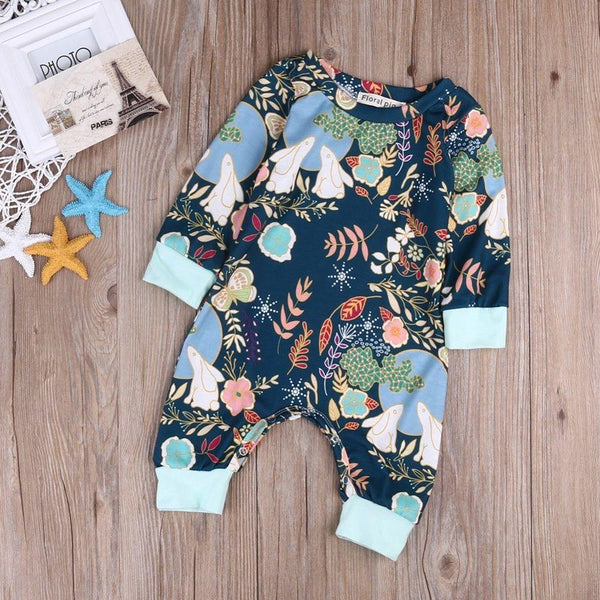 Floral Bohemian Long sleeve Jumper | 0-18M, Rompers - Rock A Bye Baby Co.