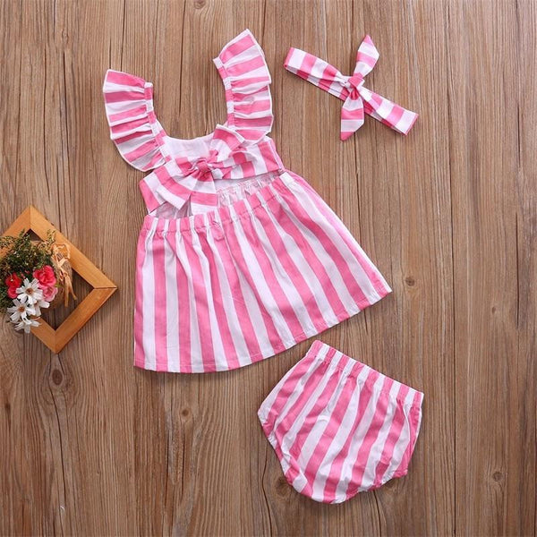 Striped Ruffle Summer Dress | 6-24M, Dresses - Rock A Bye Baby Co.