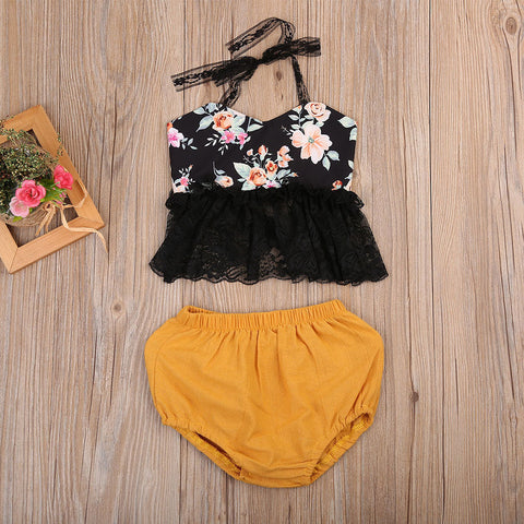 Bohemian Baby Black Floral Halter Top & Bloomers Clothing Set | 3-18M