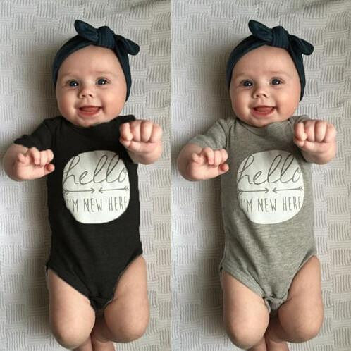 Hello I'm New Here Bodysuit | 3-24M, Rompers - Rock A Bye Baby Co.