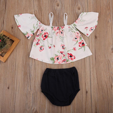 Floral Shoulder Cut Out Blouse With Black Bloomers 2 PCs Set | 3-18M