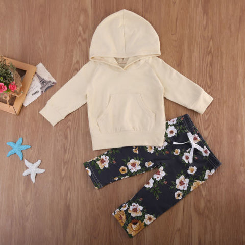 Fall Yellow Hoodie & Floral Legging Pants | 3-18M