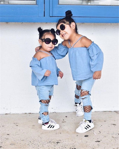 Girls Off Shoulder Spring Top & Ripped Denim Jeans | 6M-3T