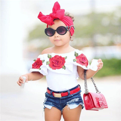 Embroidered Rose Off The Shoulder Top With Distressed Denim Shorts | 12M - 5T