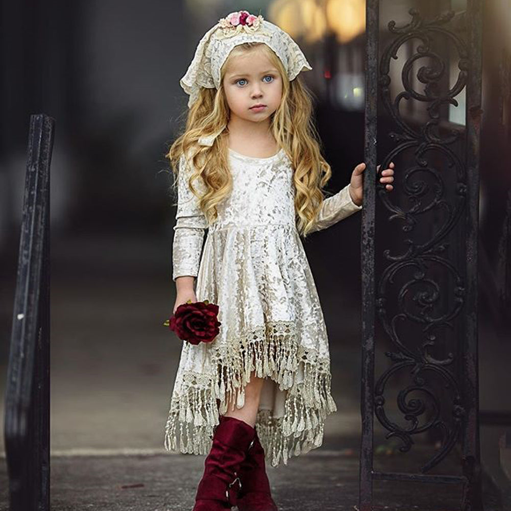 f529921c7a76 Buy Ivory Velvet Boho Baby Dress | 6M - 4T at Rock A Bye Baby Co. for only  $13.99
