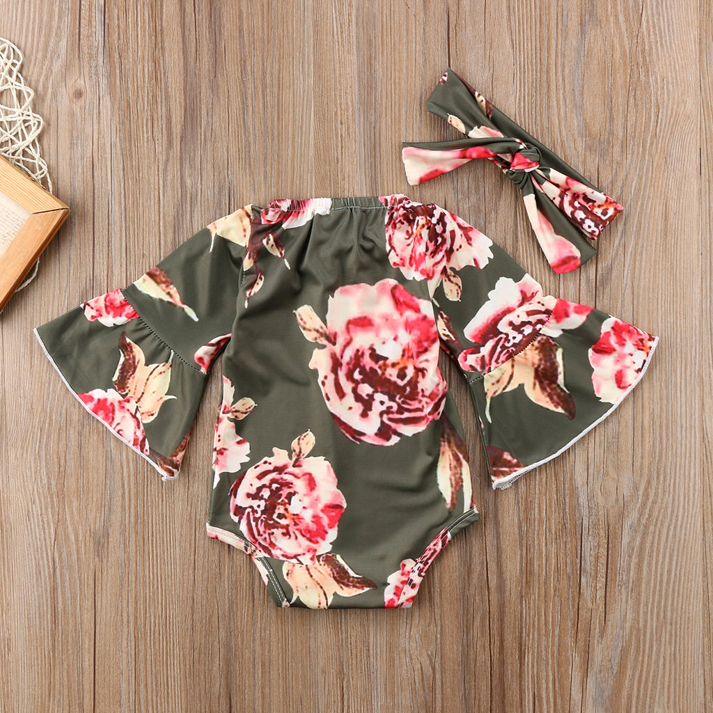 70's Floral Romper With Bell Sleeves | 0-24M