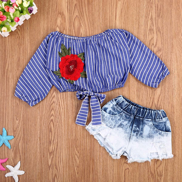 Embroidered Off Shoulder Crop Top Blouse W/ Shorts | 12M-5T