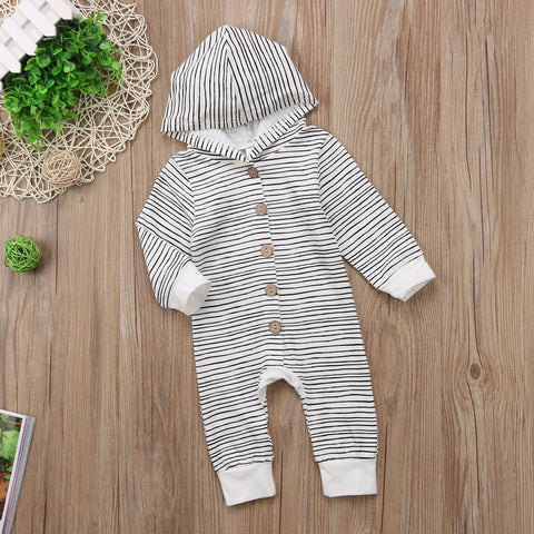 Hooded Button-Up Striped Romper | 3-18M