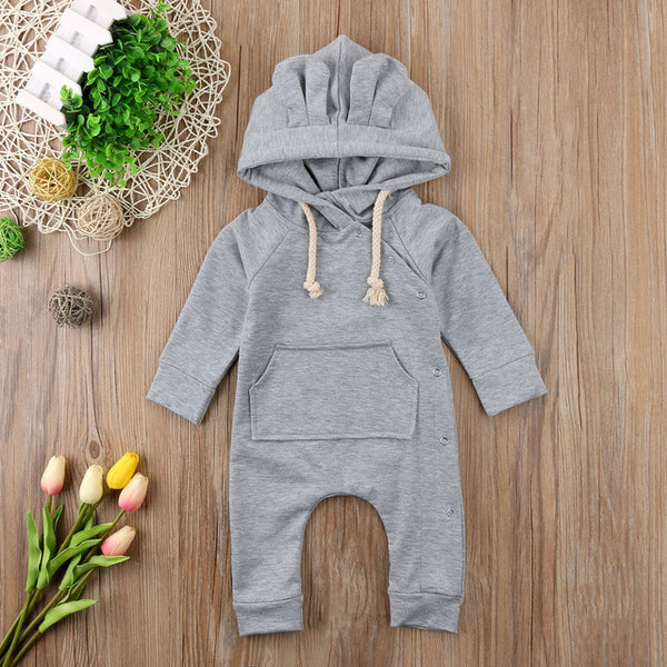 Draw String Oxford Grey Hooded Long Sleeve Romper With Ears | 3-18M