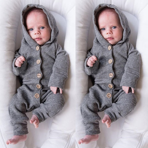 Button Up Long Sleeve Hooded Romper | 3-18M