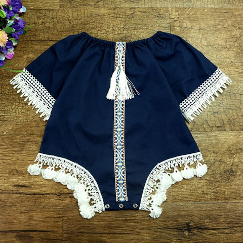 Boho Navy Short-Sleeve Baby Romper With Ivory Trim | 6-24M