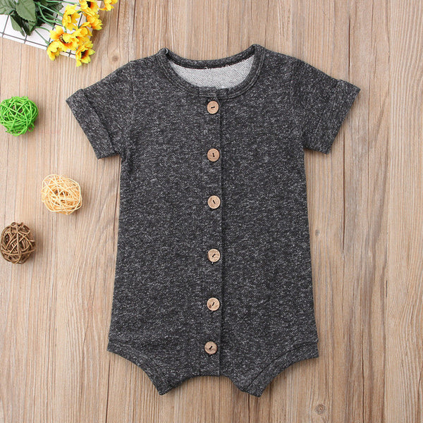 Hipster Short Sleeve Button Up Romper | 3-18M