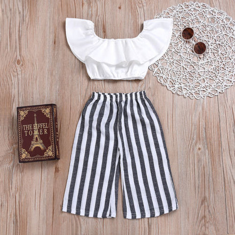 Boho Style Newborn & Toddler Striped Cotton Pants & White Ruffle Crop Top | 3M-3T