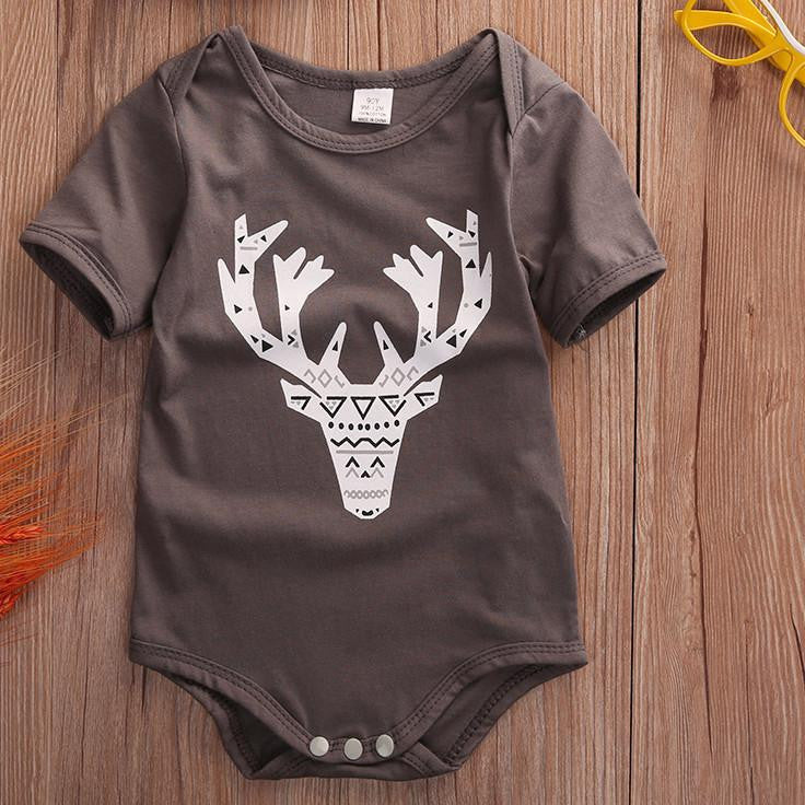 Geometric Deer Bodysuit | 3-24M, Rompers - Rock A Bye Baby Co.