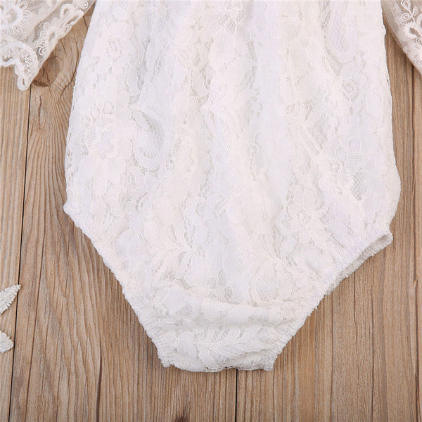 Baby Girls Off Shoulder Lace Boho Style Bodysuit | 6-24M