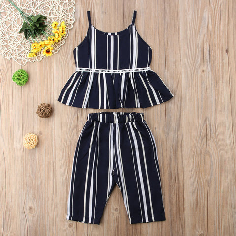 Toddler 2 PC Boho Style Black & White Striped Cotton Pants & Matching Ruffle Crop Top | 12M-5T