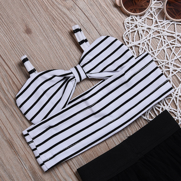 Kids Child Baby Girls Clothes Sets Stripe Sleeveless Crop Top Shirts Tulle Skirt Clothing Summer Baby Girl 6M-4T