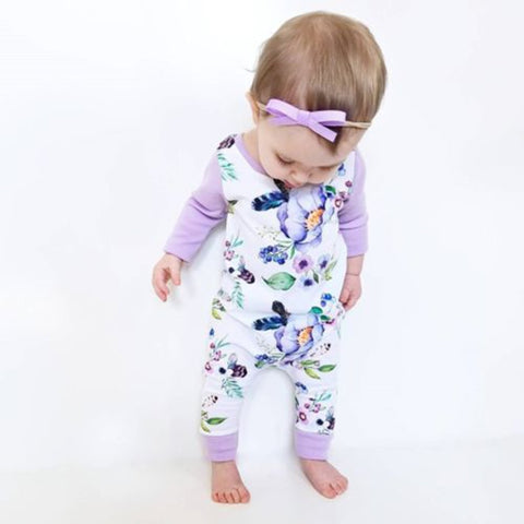 Long Sleeve Watercolor Floral Romper | 3-24M