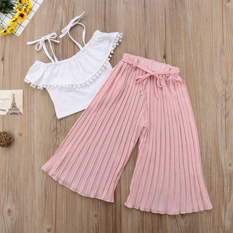 Striped Lace Kids Toddler Girl Clothing Set Off Shoulder Crop Top T-Shirt Pants Cute Clothes Girls 2-7T