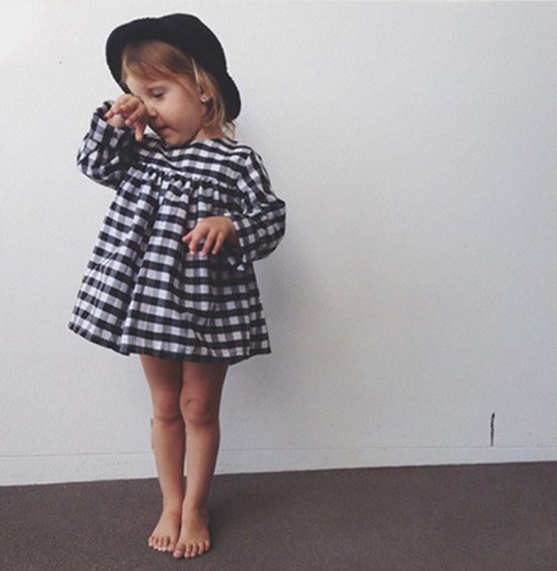 Classic Black and White Plaid Dress Tutu Baby Girl | 12M-6T, Dresses - Rock A Bye Baby Co.