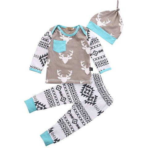 Newborn Aztec Deer Print Outfit | 3-24M, Outfits - Rock A Bye Baby Co.