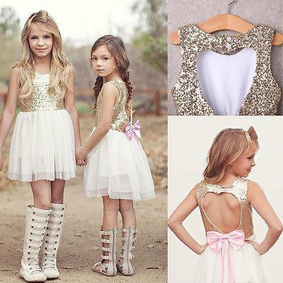 Sequins Heart Backless Girls Dress | 3-9T, Dresses - Rock A Bye Baby Co.