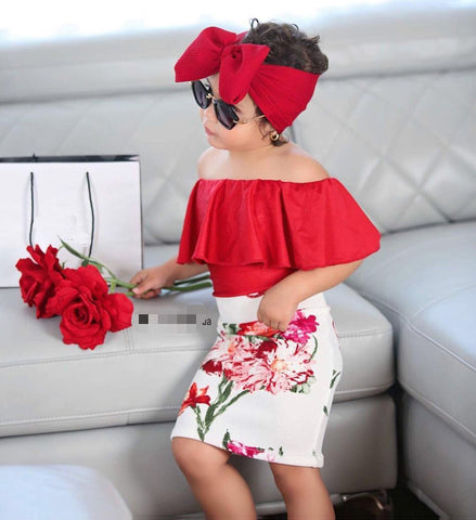 Ruffle Off The Shoulder Top, Floral Pencil Skirt & Matching Bow Headband | 2T - 6T