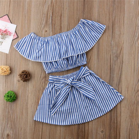 Blue & White Striped 2 PCs Boho Style Outfit | 2T - 6T