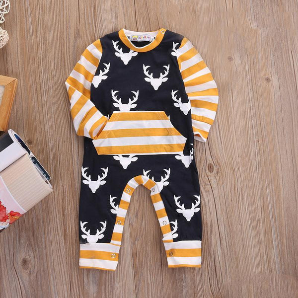 Navy & Mustard Deer Romper | 3-24M, Rompers - Rock A Bye Baby Co.