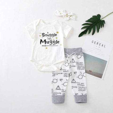 Snuggle This Muggle 3 PCs Romper & Pants Set | 3-18M