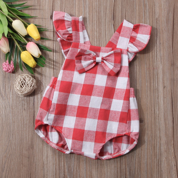 Red Plaid Hipster Baby Bodysuit With Ruffle Cris-cross Straps | 3-18M
