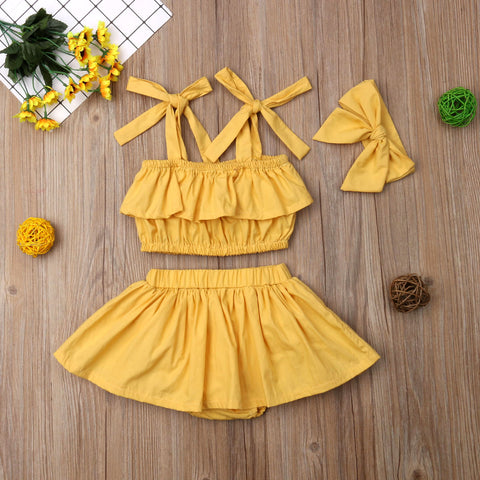 Boho Style Mustard Yellow Summer Outfit 3 PCs Set | 3-18M