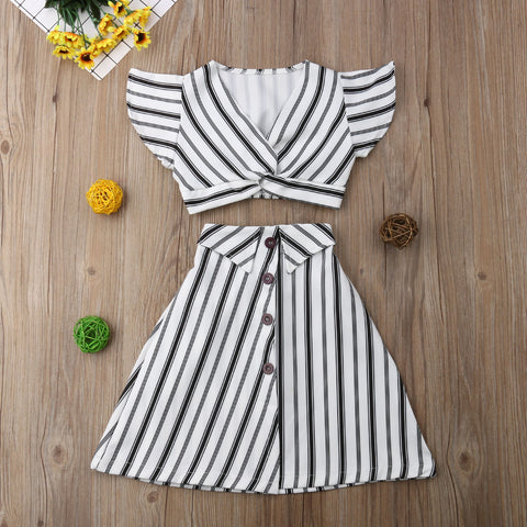 2 PCs Toddler Black & White Striped Boho Skirt & Top | 3-8T