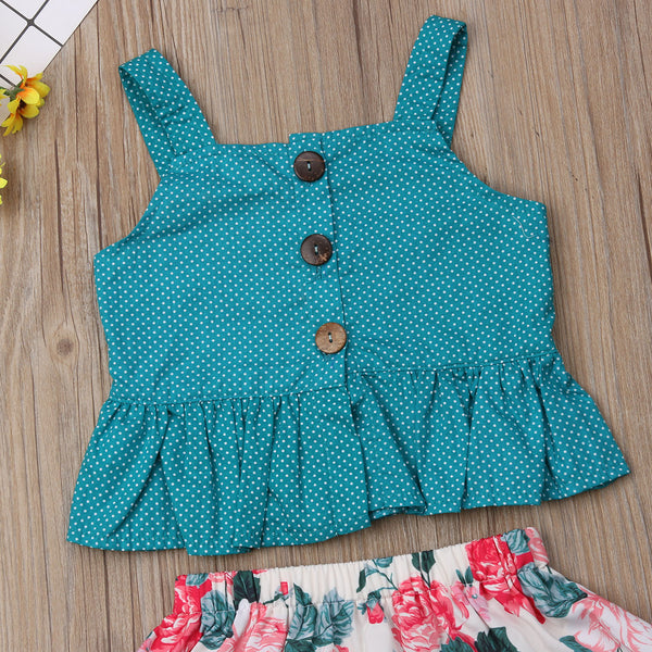 Toddler Kid Baby Girl Summer Clothes Sets Cotton Tops Vest Sleeveless Floral Skirts Cute Party Outfits Clothing Girl | 2-7T