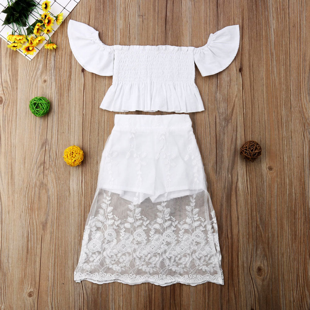 a7098e95bba7 Toddler Kid Baby Girl Princess Clothes Set Party White Lace Floral Tops  Long Skirt Outfits Clothes 2PCS | 1-6T
