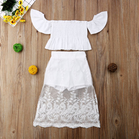 Toddler Kid Baby Girl Princess Clothes Set Party White Lace Floral Tops Long Skirt Outfits Clothes 2PCS | 1-6T