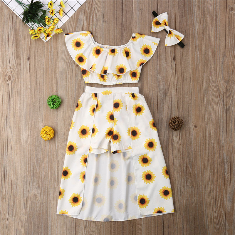 050814141 3PCS Kids Baby Girl Sunflower Clothes Set Crop Tops Shorts Dress Headband Outfits  Clothes Summer Party