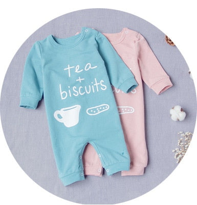 Tea & Biscuits Pink & Blue Long Sleeve Baby Jumpsuit | 3-18M