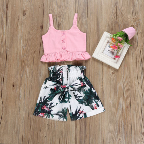 Boho Style Vest Crop Tops Ruched Shorts Floral Summer Casual Clothes Set Outfits Fashion Toddler Kid Baby Girls | 2-6T