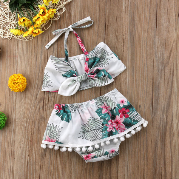 Boho Style 2 PCs Floral Halter Top With Matching Bottoms | 6-24M