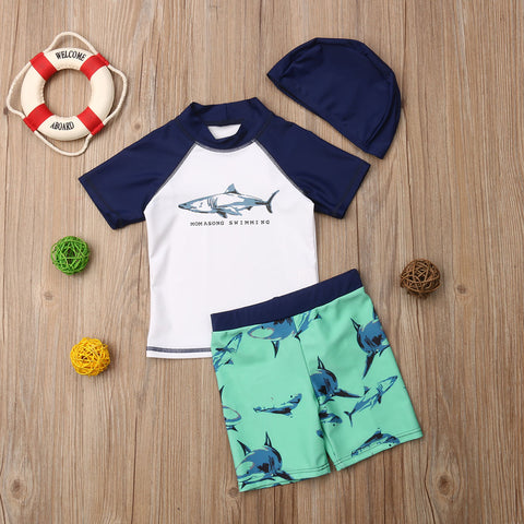 3 PCs Toddler Boy Shark Rash Guard & Shorts Sun Protecting Summer Outfit | 2T-6T