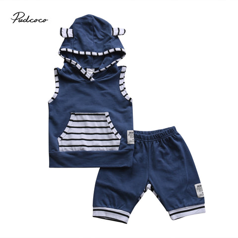 Boys 2 PCs Hooded Tank Top & Matching Shorts Set | 6M - 3T