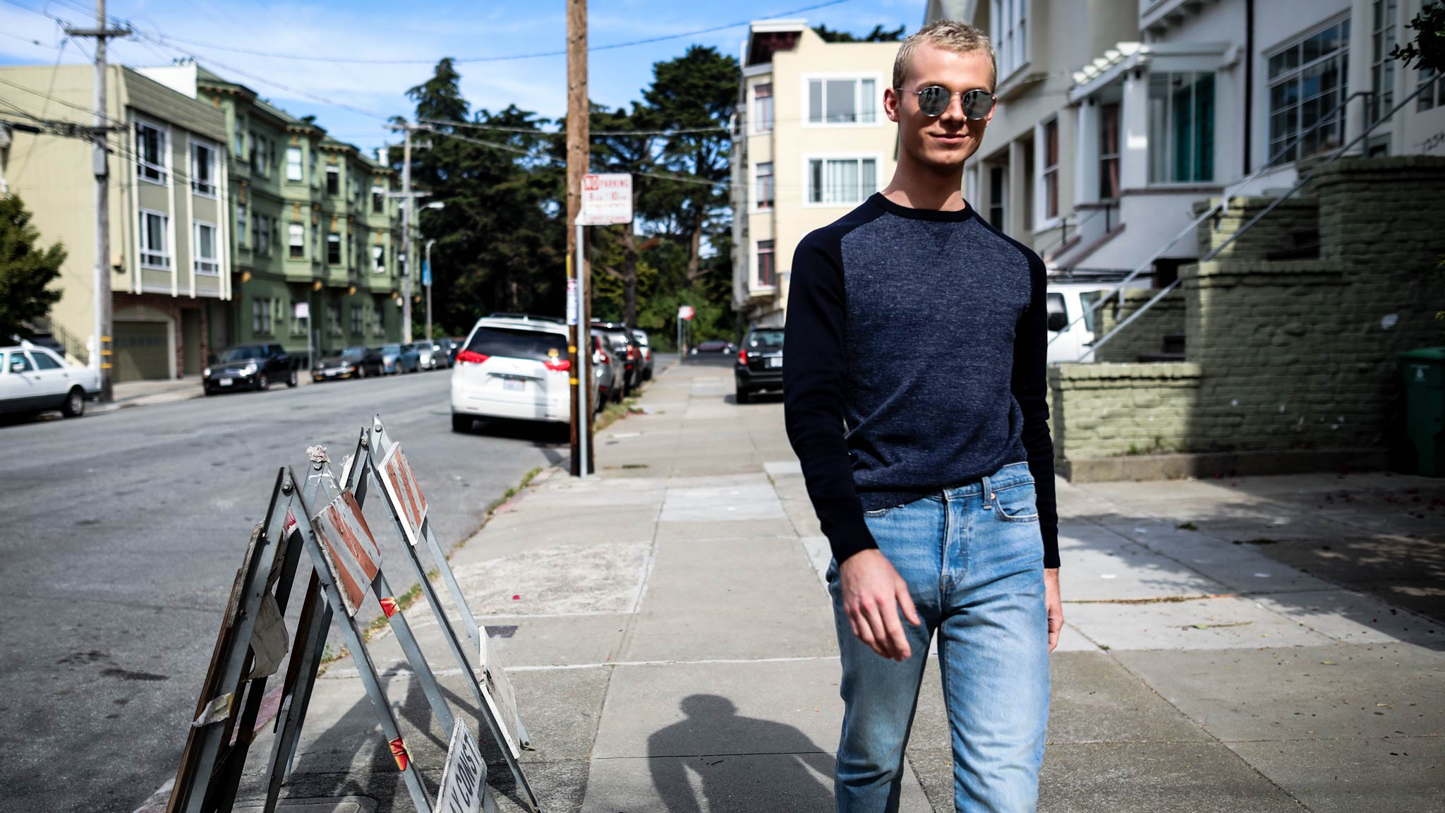 Mens Contrast Sleeve Crewneck Sweater