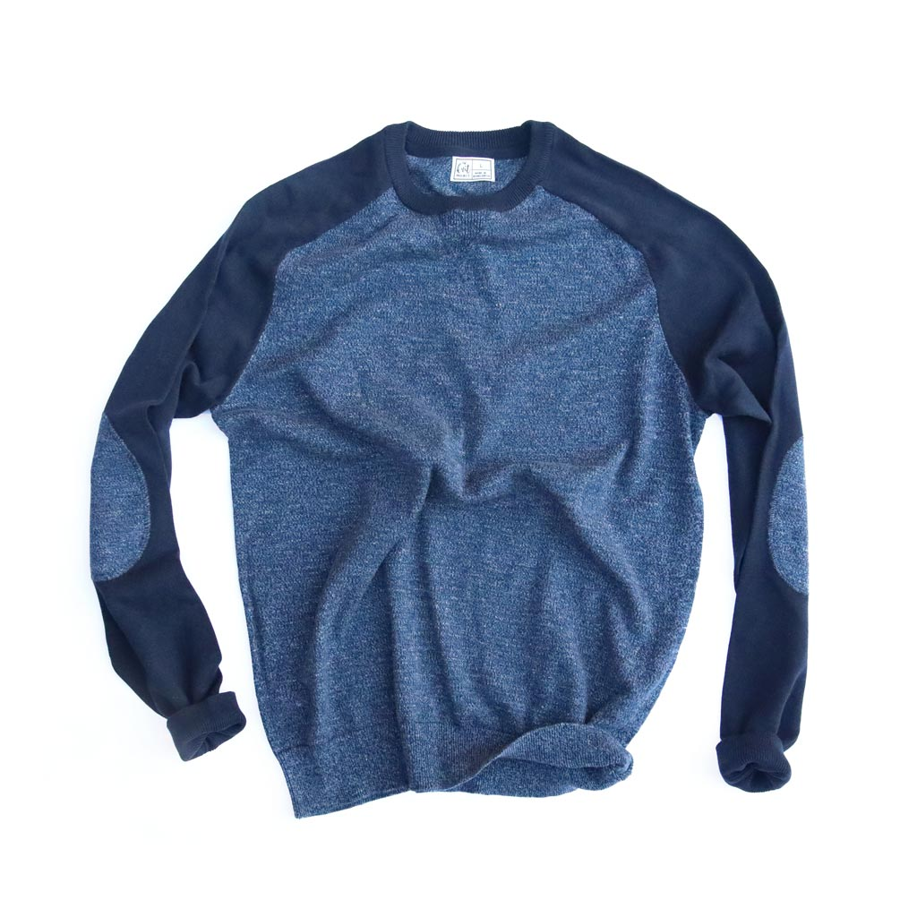 Men's Contrast Sleeve Crewneck Sweater - Bird's Eye