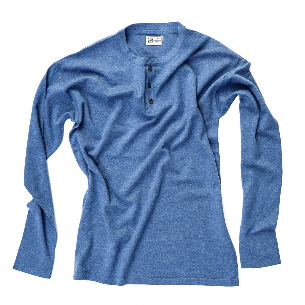 Men's Cotton-Blend Henley Sweater - Bird's Eye